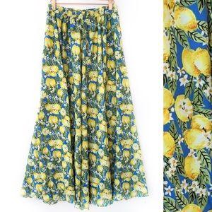 NEW Boutique Lemon Print Flowy Maxi Skirt